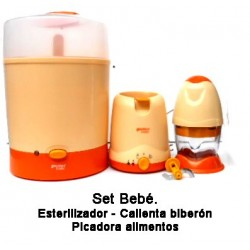 Set bebé Esterilizador - Calienta biberones - Picadora de alimentos