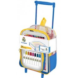 Mochila trolley infantil con set de artista para colorear del Real Madrid