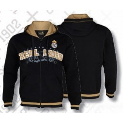 Sudadera negra Real Madrid con gorro adulto