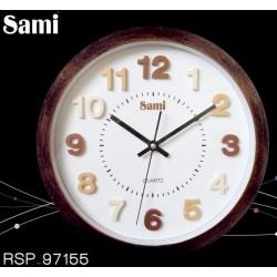 Reloj de pared Sami marco madera oscuro 30cm diámetro