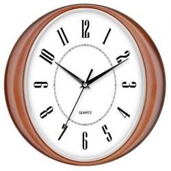Reloj de pared Timemark marco color madera filo plateado 30cm diámetro