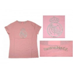 Camiseta pedrería Real Madrid Rosa Mujer