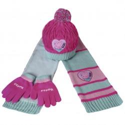 Conjunto polar Peppa Pig Gorro guantes y bufanda