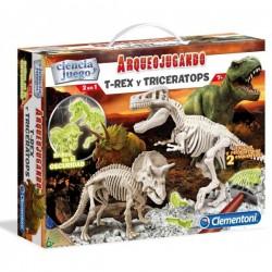 Juego Ciencia Arqueojugando T-Rex y Triceratops