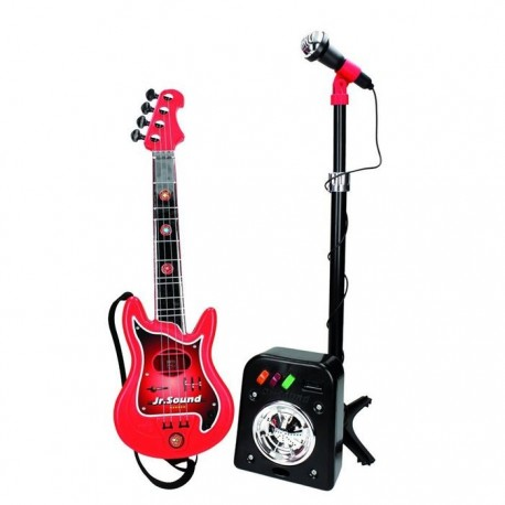 Guitarra eléctrica con micrófono y amplificador de juguete