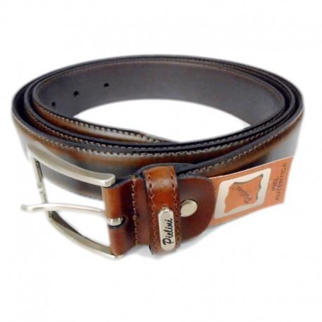 Cinturón caballero piel largo 125 cm marrón