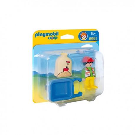 Playmobil 6961 1.2.3 Trabajador con Carretilla