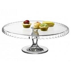 Plato de tarta con pié 32x32x13cm cristal