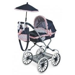 Carro clásico con capota de juguete para muñecas incluye sombrilla