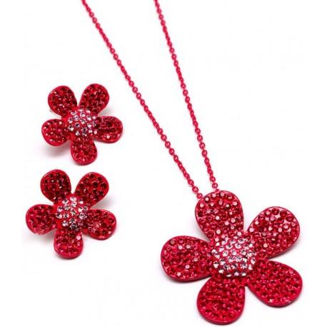Conjunto pendientes y collar cristales Mod 99463
