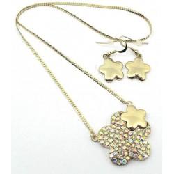 Conjunto pendientes y collar cristales Mod 358GD