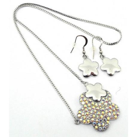 Conjunto pendientes y collar cristales Mod 358SV
