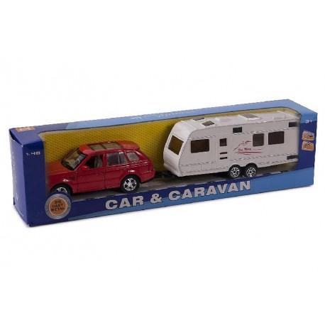 Coche y caravana 30cm escala 1:48