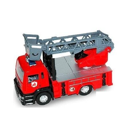 Camión de bomberos escalera con luz y sonido 13cm 1:32