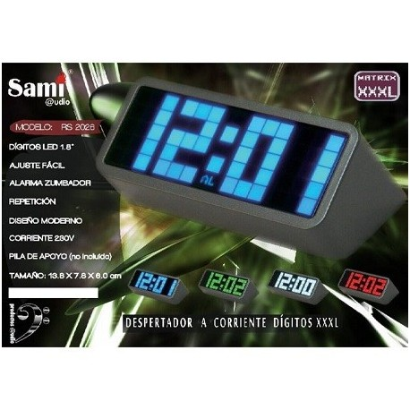 Despertador Sami pantalla XXL LED blanco RS-2026