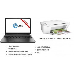 "PORTATIL HP - HP 255 AMD E1-6015 4GB 1TB, DVD, 15.6"", W10 + IMPRESORA HP DJ2130 MULTIFUNCIÓN"
