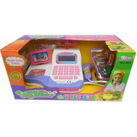 Caja registradora juguete con calculadora emite sonidos