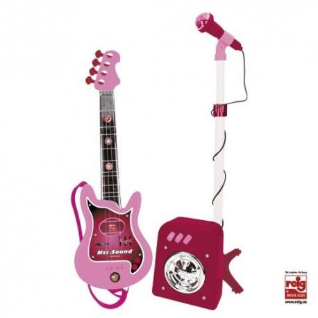 Guitarra eléctrica rosa con micrófono y amplificador de juguete