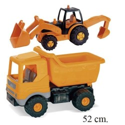 Camión volquete plástico con tractor retroexcavadora
