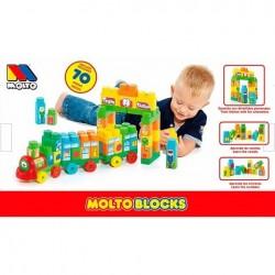 Tren cubos Molto blocks de plástico para montar 70 piezas