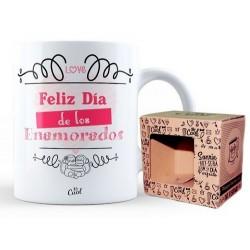 Taza ceramica 33cl MUG con mensaje Feliz dia de los enamorados