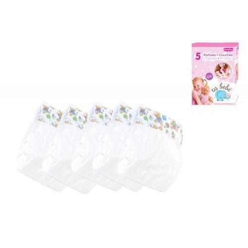 Caja con 5 pañales para muñecos juguete RS601159