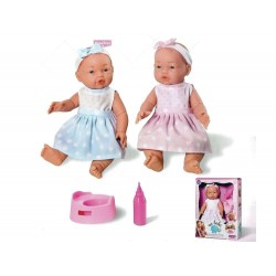 Muñeco Bebé toma biberón y hace pipí.  Edad apartir de 3 años.  Longitud muñeco 30cm.