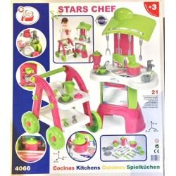 Cocina juguete y carrito camarera 21 accesorios