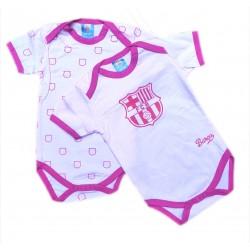 Pack 2 bodys FC Barcelona rosa manga larga