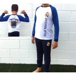 Pijama Real Madrid aulto verano 3 piezas dos camisetas un pantalón