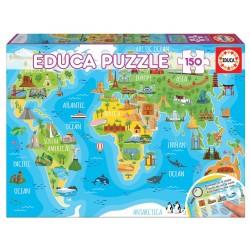 Puzzle de 150 Piezas Educa Borras mapa mundo con monumentos 48x34cm