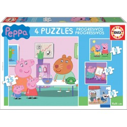 Peppa Pig 4 puzzles progresivos 12-16-20-25 Educa Borras 16x16cm