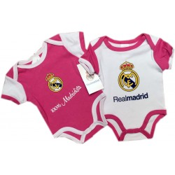 Body Real Madrid rosa para bebé manga corta verano