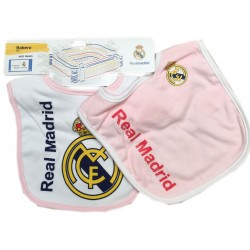 Real Madrid pack 2 baberos rosa y blanco