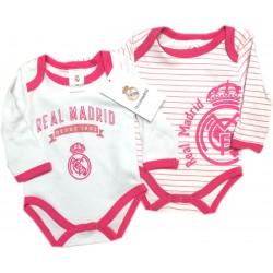 Pacck 2 Body Real Madrid rayas rosa para bebé manga larga invierno