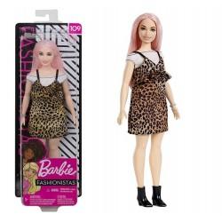 Muñeca Barbie pelo rosa y vestido de leopardo