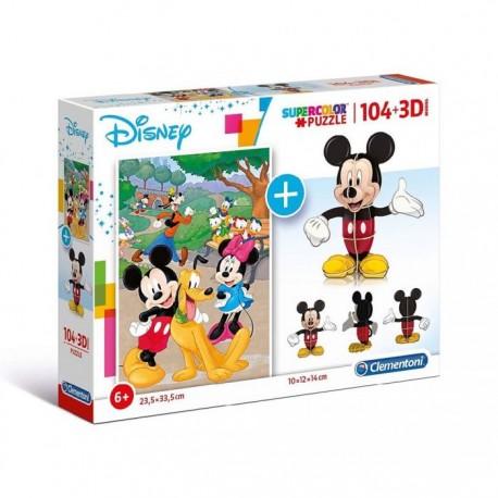 Puzzle 104 Pzas + 3D Model Mickey Mouse