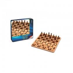 Ajedrez/damas en caja metal