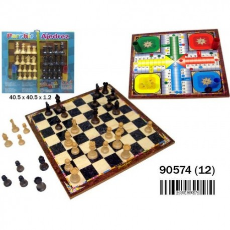 Tablero parchis y ajedrez 2 a 4 jug 40x40cm
