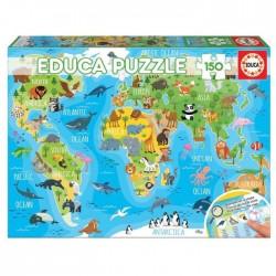 Puzzle 150 mapamundi animales