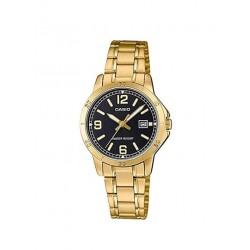 Reloj Casio Señora LTP-V004G-1B dorado efera negra
