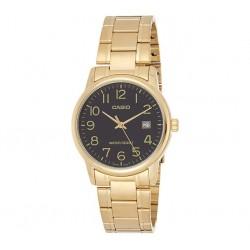 Reloj Casio Caballero MTP-V002G-1B dorado esfera negra