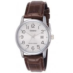 Reloj Casio Caballero MTP-V002L-7B esfera plateada correa piel marrón