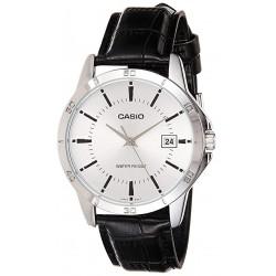 Reloj Casio Caballero MTP-V004L-7A esfera plateada correa piel negra