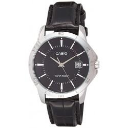 Reloj Casio Caballero MTP-V004L-1A esfera negra correa piel negra