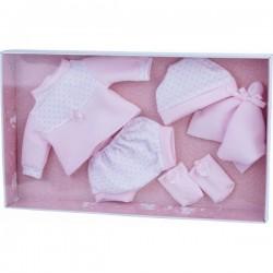Vestido Reborn de puntos rosa para muñecas de 38 a 42cm