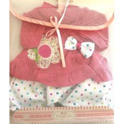 Conjunto camiseta con lazo y flor con pantalón para muñecas de 50cm Arias