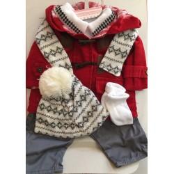 Conjunto invierno chaqueta camiseta pantalón gorro bufanda de 50cm Arias