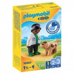 Playmobil 70407 1.2.3 Veterinario con Perro Playmobil 1.2.3