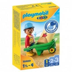 Playmobil 70409 1.2.3 Obrero con Carretilla Playmobil 1.2.3